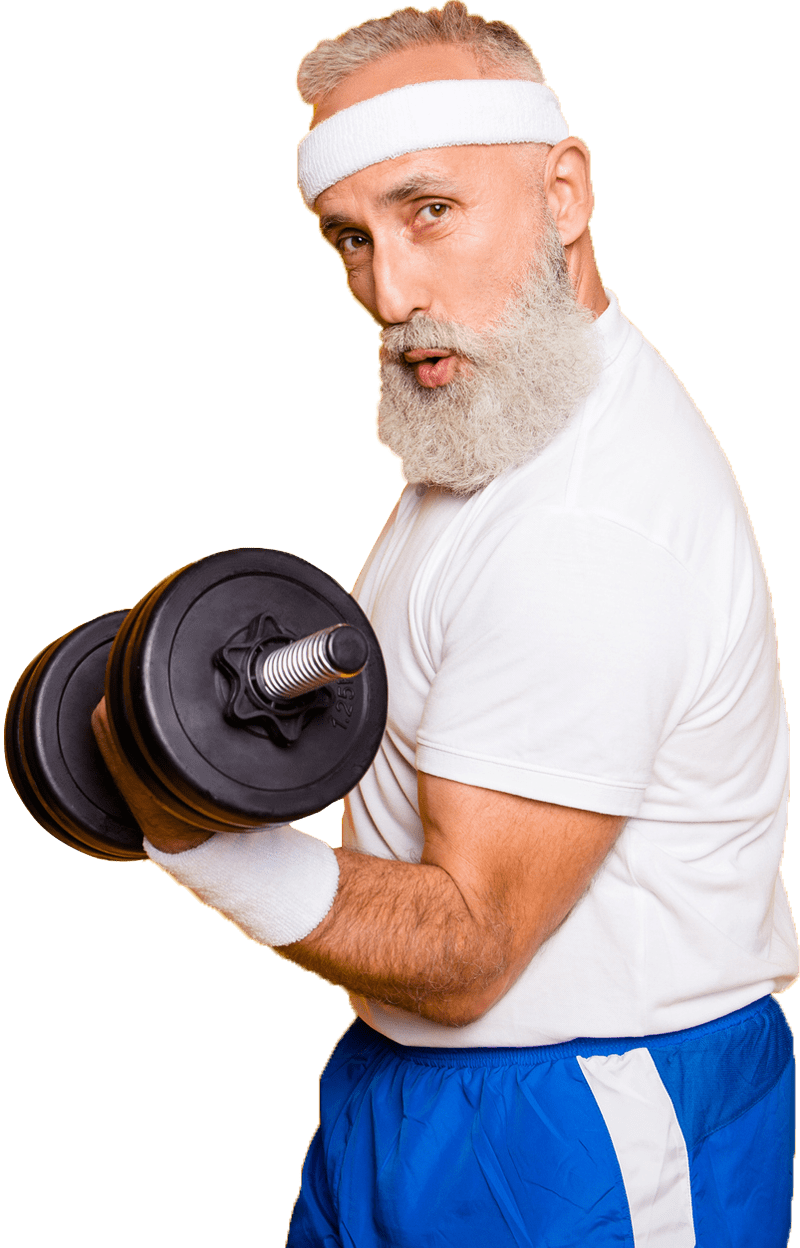 Grey haired man with a dumbell